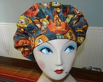 Chinese Lanterns  Banded Bouffant Surgical Cap / Bakers Cap