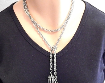 Vintage Lariat Necklace, Silvertone Chain w/dangles, 40 inches long