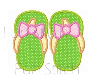 a636cf8b778 Summer flip flop applique machine embroidery design from FunStitch ...