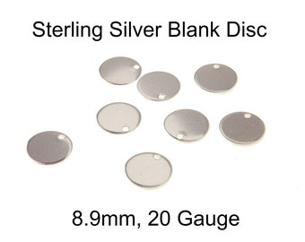 5-20pc, 8.9mm 20 Gauge Sterling Silver Blank Disc, sterling silver disc, sterling silver disk, stamping disc, blank disc, 20 gauge, 9mm