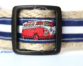 Beach Van Dog Collar, California Dog Collar, Dog Collar, Adjustable Dog Collar, Collar & Leash Set