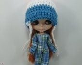Handcrafted fancy scotch overall and hat outfit for Blythe doll 400-2
