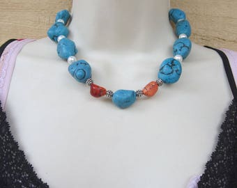 Chunky Turquoise and Pearl Necklace