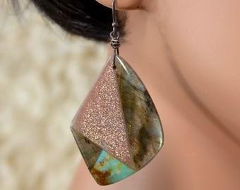 LP 1395  Labradorite,Sleeping Beauty Turquoise,Sun Stone Intarsia Geometric Earrings