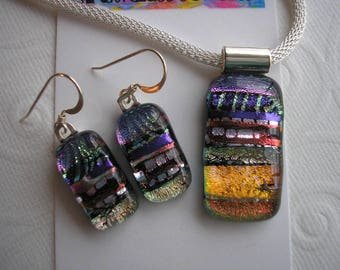 Dichroic Glass Jewelry Set Purple, Violet, Apricot, Silver Matching Handmade Pendant and Earrings Kiln Fused Glass Iridescent Colors Dichro
