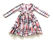 Checkers print Pink Blue & White Young girls dress for cristmas