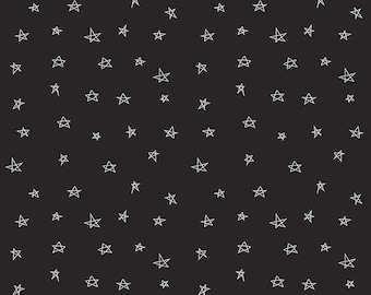 Black and White Star Fabric,  When Skies Are Grey by Simple Simon & Company for Riley Blake Designs, Skies Star in Black, 1 Yard