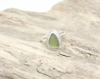 Sterling Sea Glass Ring - Lake Erie Jewelry - Jade Colored Ring - Beach Glass Ring - Sterling Silver Jewelry - Size 6.25 Ring