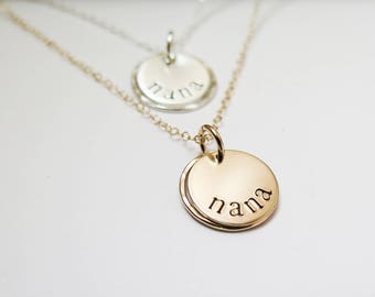 Nana Necklace - Hand Stamped - Sterling Silver - Simple Gift Present for Nana