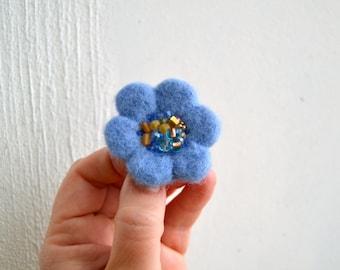 Little Needle Felted Brooch Light Blue Wool Felt Flower,Small Felt Flower Pin,Little Brooch,Felted Flower,Corsage Brooch,Woolen Brooch