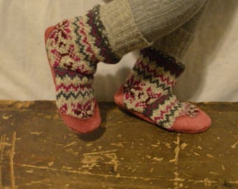 Kid's size 10 (EU 27) ROSIE Felted Wool Soccasins with Leather Soles