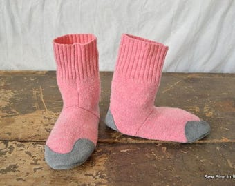 Youth Size 4 (EU 36) COTTON CANDY Felted Wool and Wool Blend Soccasins with Leather Soles, Toes and Heels