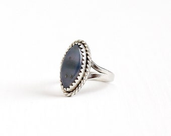 Vintage Sterling Silver Agate Ring - Retro 1960s Size 3 1/4 Blue Gray Marquise Chalcedony Gem Petite Pinky Ring Southwestern Style Jewelry