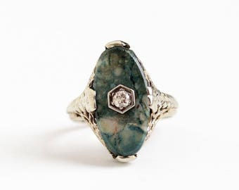 Antique 14k White Gold Jasper & Diamond Ring - Vintage Size 6 Art Deco 1920s Flower Filigree Green Gemstone Fine Statement Jewelry