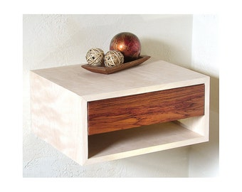 "17""w, 2 Floating Bedside Tables, Birch with Bubinga wood drawer"