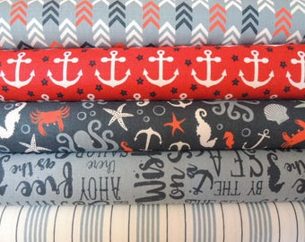 By the Sea Kit 1,  Rag Quilt Kit, Red & Blue Easy to Make, Personalized, Bin A