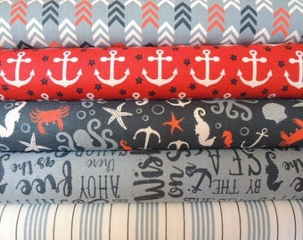 By the Sea Kit 1,  Rag Quilt Kit, Red & Blue Easy to Make, Personalized, Bin A, Optional Sewing Available