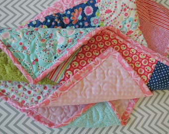 Flutterberry Baby or Toddler or Lap Quilt, Ready to Ship, Personalized