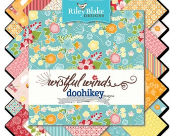 Wistful Winds by Doohikey for Riley Blake Designs,  5 Inch Charm Pack Stacker, 18 pieces, Bin A