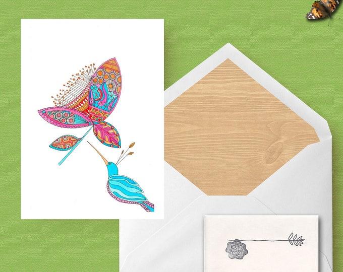 Ink and watercolor humming bird greeting card