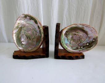 Abalone Shell Wood Bookends Signed Coastal Chic decor Sea Shells Mother of Pearl Starfish Instant Collection Beach Ocean SEASHELL Clam