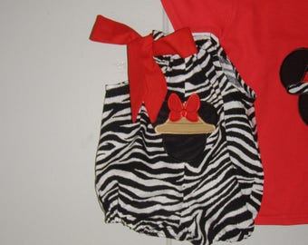 Minnie  Mouse Romper  red ZEBRA  Safari bubble romper  Black appliqued Disney Romper Infant 3,6,12,18 month