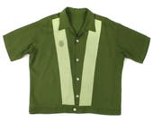 vintage 1960s mens shirt • green striped shirt with crest