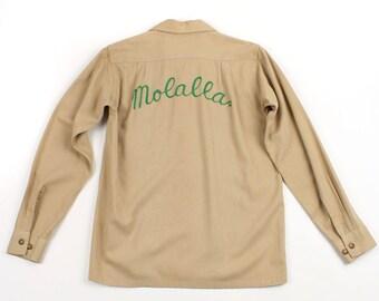 vintage 1940s gabardine shirt • mens chainstitch embroidered work shirt