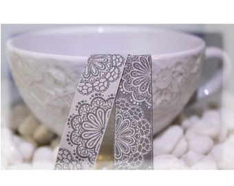 Jacquard Ribbon, Grey Lace Ribbon,  Farbenmix woven reversible silver flower ribbon webband,  Sewing Tape, 1 metre