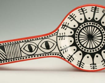 Spoon Holder, Long, Black White Red, Eye Design Pattern, Graphic Black Designs with Red Back on Spoon Rest