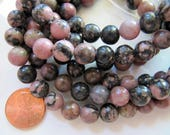 8mm Natural Rhodonite Beads in Dark Mauve Pink, Gray, Sienna and Black, 1 Strand, Approx 45 Beads, Round Gemstones