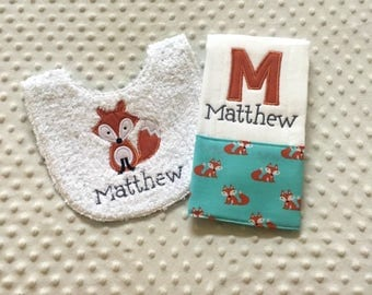 Baby Boy Personalized  Gift Set  -Applique Fox Bib and Personalized  Burp Cloth,
