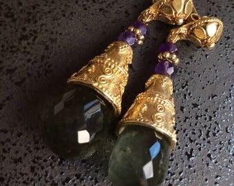 FREE SHIPPING Cascade  EARRINGS sterling gold chalcedony amethyst dangle gem gemstone