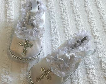 Baby Bling Lace Ruffle Cross Christening Shoes