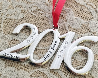 Christmas engagement Ornament personalized names Key 2016 numbers