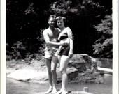 Vintage Photo - Couple on the Rocks - Vernacular, Found Photo, Ephemera (B)