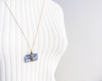 R a w kyanite 14k gold filled necklace,