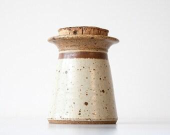 Vintage Modern Rustic Stoneware Pottery Stash Jar