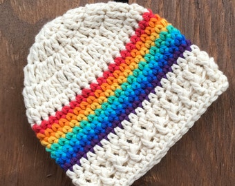 Rainbow Baby, 100% Cotton Newborn Rainbow Baby Hat, Baby Hat, Infant Hat, Beanie, Boy, Girl,  Multi-Colored Crochet Infant Hat