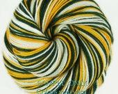 "Dyed to Order: Self striping sock yarn ""GREEN GOLD WHITE"" Handdyed yarn - Football Baseball Sports School colors - Green Bay-Oakland-Seattle"