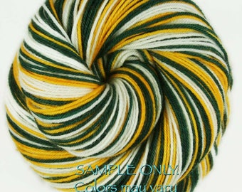 "Dyed to Order: Self-striping Sock Yarn ""GREEN GOLD WHITE"" Handdyed yarn - Football Baseball Sports School colors - Green Bay-Oakland-Seattle"