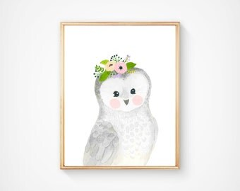 Watercolor grey owl , Woodland nursery, Animal Paintings, owlet, watercolor animal, nursery prints, woodland animals