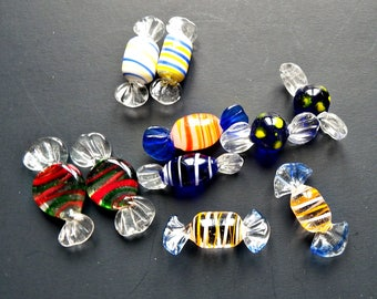 Vintage Murano Glass Candies from Italy/ Set of 10 Striped Italian Glass Hard Candies- Table Decor Glass Baubles