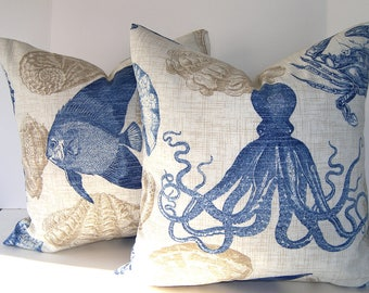 Indoor / Outdoor Designer Pillow Cover - Shellfish - Octopus - Crabs - Fish - Sea Creatures - Blue - Khaki - Ivory