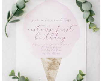 Ice Cream Party Invitations | Sweets Party | First Birthday | Whimsical | Ice Cream Cone | Invitations | Printed