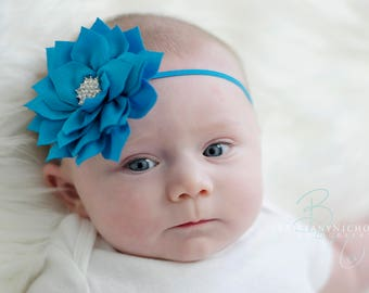 Turquoise baby headband, blue baby headband,  infant headband, newborn headband, turquoise hair bow, turquoise headband, turquoise flower