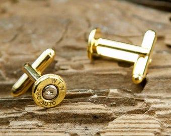 Bullet Cufflinks, Winchester 380 Auto Brass Bullet Cufflinks, Wedding Cufflinks, Wedding Cuff Links, 380 Auto Cufflinks, 380 Auto Cuff Links