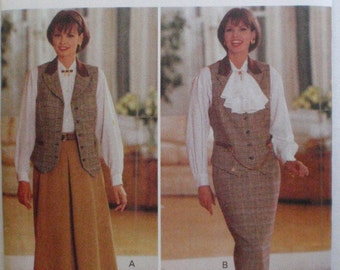 J. G. Hook Sewing Pattern - Lined Vest, Flared Skirt, Straight Skirt - Butterick 3077 - Sizes 12-14-16, Bust 34 - 38, Uncut