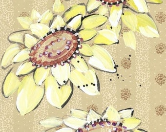 Sunflowers - original painting, yellow and brown Sunflowers painted on Vintage Wallpaper