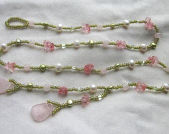 Beaded Lariat Long Necklace Rose Cherry Quartz Gemstones Freshwater Pearls Women's Jewelry Gift Wrap and Go!